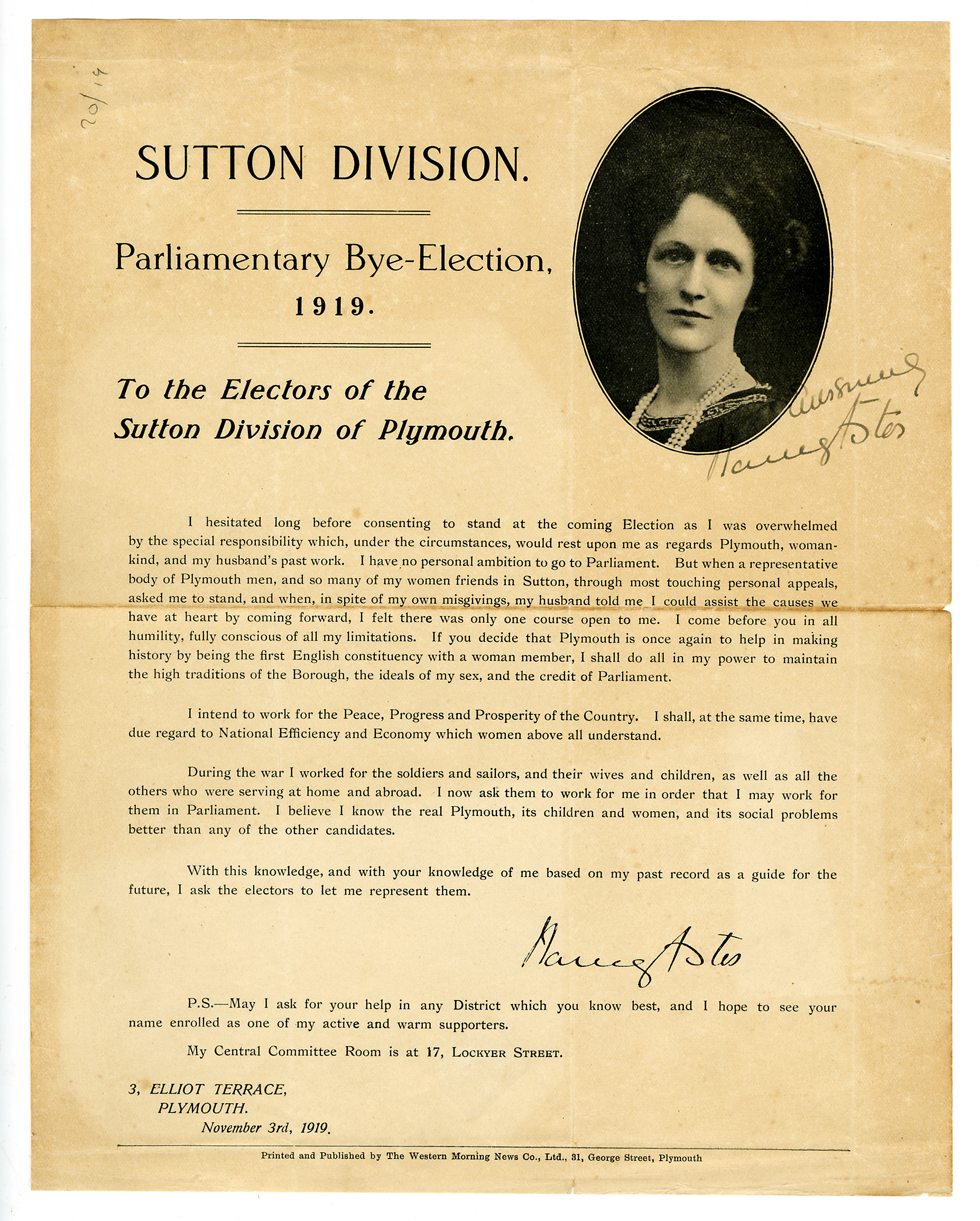Astor's first election campaign leaflet, Nov 1919