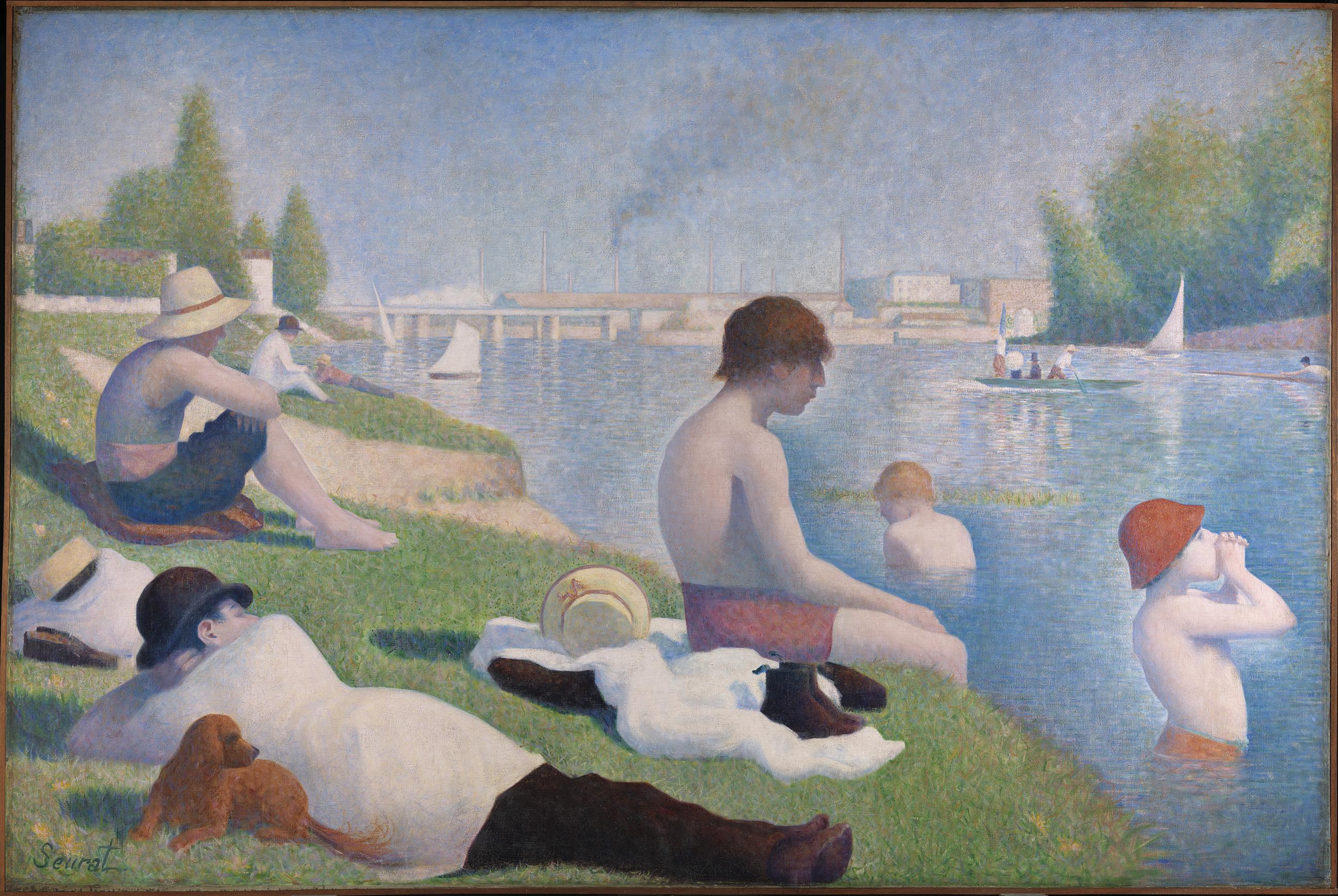 Bathers at Asnières - Georges Seurat, 1884.