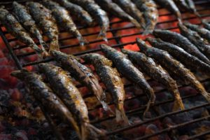 Sardines on a grill