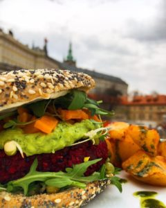 veggie burger with a view behind of Prague
