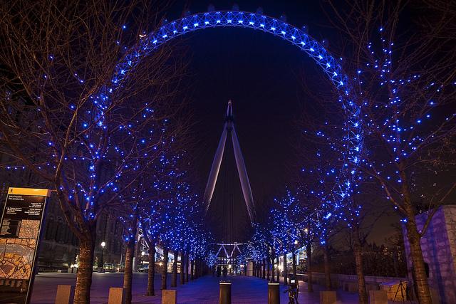 Night shot of the London Eye.