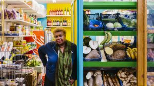 This photo celebrates 'the godmother' of Tooting Market who's been there for decades